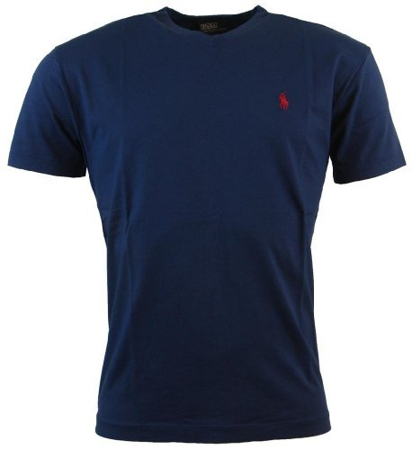 Polo Ralph Lauren Mens Classic Fit Solid V-Neck T-Shirt - XL - Navy