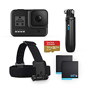 GoPro HERO8 Black Bundle – Includes HERO8 Black Camera, Shorty, Head Strap, 32GB SD Card, and 2 Rechargeable Batteries