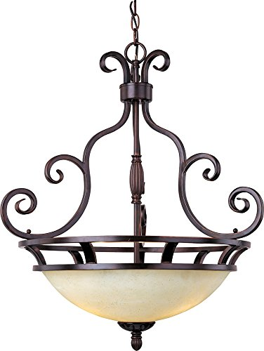 Maxim 12202FIOI Manor 3-Light Pendant, Oil Rubbed Bronze Finish, Frosted Ivory Glass, MB Incandescent Incandescent Bulb , 60W Max., Dry Safety Rating, Standard Dimmable, Metal Shade Material, Rated Lumens