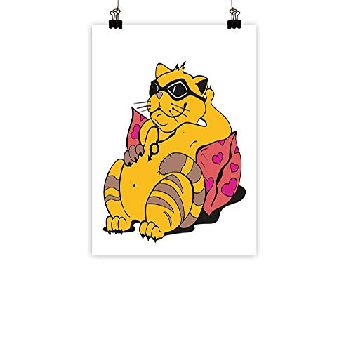 """Funny Modern Frameless Painting Fat Tomcat with Glasses Lying on A Cushion Relaxing Lazy Kitty Pets Pillow Cartoon Bedroom Bedside paintingApricot Pink 24""""x31"""""""