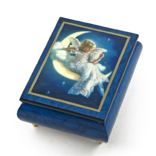 Enchanting Blue Ercolano Painted Music Box Titled ''Moonbeam'' by Brenda Burke - .0 Holy Night by MusicBoxAttic