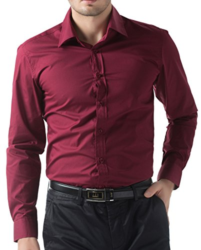 Paul Jones Men's Solid Dress Shirt Long Sleeve Button Casual Shirt Wine Red