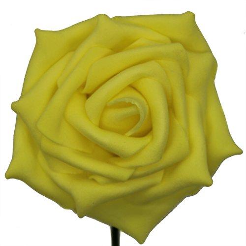 50pcs Foam Rose Flower Head Artificial Flowers Bouquet (Yellow) - 7