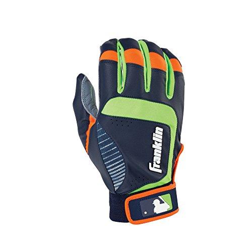 Franklin Sports Adult MLB Shok-Sorb Neo Batting Gloves, Adult Small, Pair, Gray/Navy/Lime