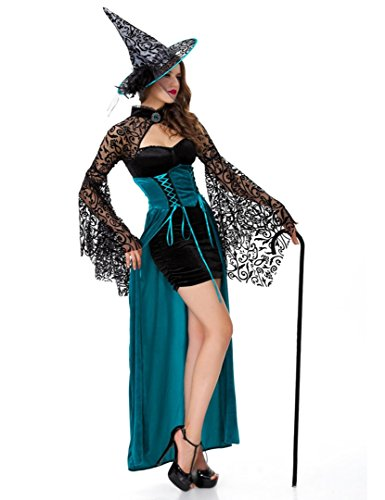 Woman Sexy Witch Costume Dress Magician Cosplay Long Dress Game Suit Party Clothes (Plus Size Sexy Glinda Costume)