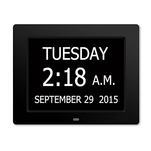 5 Daily Alarms & 3 Medicine Reminder - Hurrah Extra-Large Memory Loss Digital Calendar Day Clock with Non-Abbreviated Day (Black)