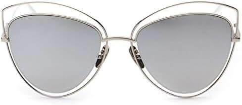SojoS Women's Double Wire Double Rimmed UV400 Cat Eye Sunglasses SJ1047