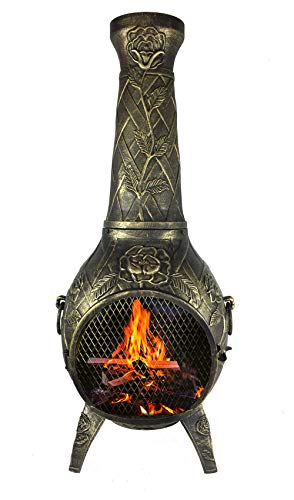 The Blue Rooster CAST Aluminum Rose Chiminea with Gas and a 20' Hose in Gold Accent. Also Comes with a Free Year Round Cover.