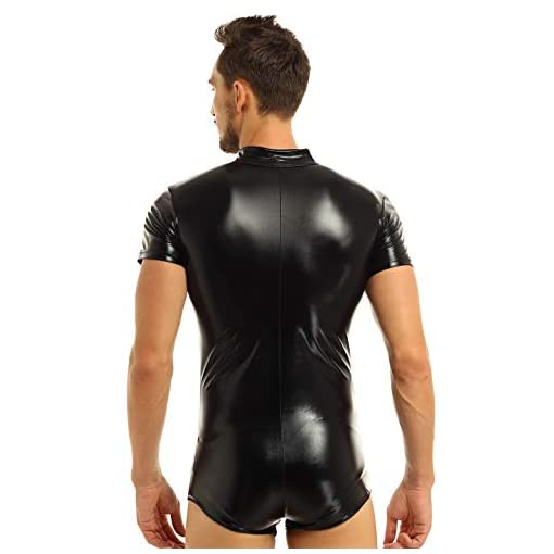 Yizyif Mens Sexy Clubwear Faux Zip Leather Bodysuit Kinky Catsuit Leotard Costumes Black Medium