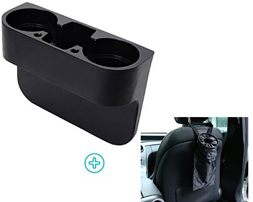 Car Drink Holder To Hold Hot & Cold Drink Preventing Spillage Bundle With Car Garbage Bag For Cleaner & Organize Car Interior With Adjustable Strap by CarrPro