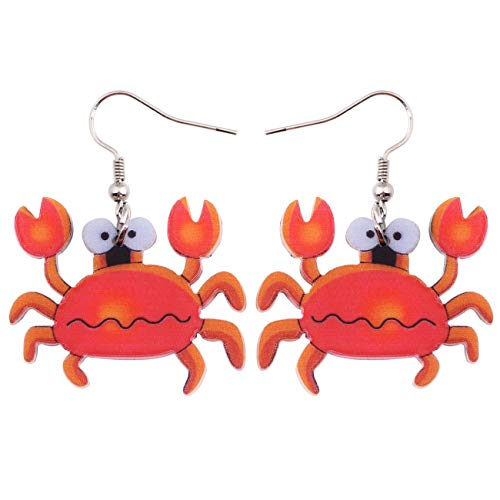 BONSNY Patterned Acrylic Farm Animal Sweet Ocean Crab Red Earrings for Women Girls Kids Charms Gift Jewelry