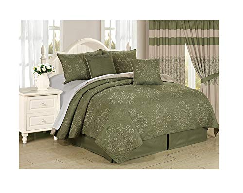 All American Collection New 6pc Circle Reversible Embroidered Bedspread/Quilt Set (Queen 6pc, Sage)