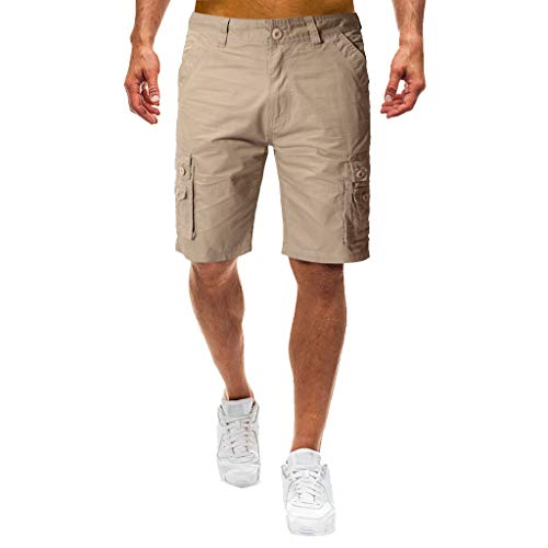 WANQUIY Men's Casual Elastic Cargo Breathable Shorts Solid Color Loose Fit with Pocket Button Shorts Khaki (Best Jeans For Curvy Figure Uk)