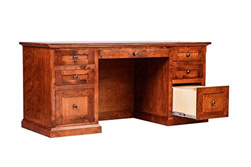Forest Designs Mission Alder Writing Desk w/ Double Pedestal: 66W X 30H X 24D (Black Knobs) Unfinished Oak