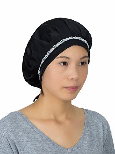 Cap Accessories Bronze (LITHER Women 100% Silk Night Cap Sleeping Hat Head Cover Bonnet For Hair Beauty (Black))