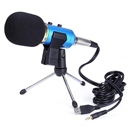 GB-Tech 3.5mm Audio & Usb Wired Sound Recording Condenser Microphone with Shock Mount Holder Clip (Blue)