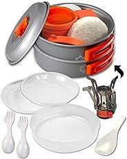 gear4U: Best BPA-Free Camping Cookware 13 Piece Set - Mess Kit + Free Bonus - Non-Stick Anodized Aluminum - Co