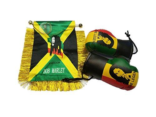 3pcs Bob Marley, Rasta flag mini banner Boxing Gloves Glove Rear view mirror Bobmarley Jamaican Jamaica Ganga weed - Bob Marley Flags