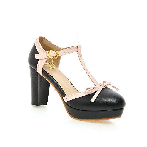 AmoonyFashion Womens Round Closed Toe High-Heels Soft Material Solid Buckle Sandals Black FcLFsbL