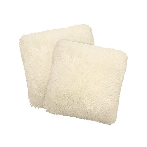 "Dolce Home Alexus Pillow Set, Ivory, 2 Piece - Set includes (2) 18"" x 18"" decorative pillows by Dolce Home Extremely soft and plush shag pillows are the perfect addition to any bedroom, living room or play room Mix and match colors for a fun, stylish look - living-room-soft-furnishings, living-room, decorative-pillows - 41ZBIiaNyqL. SS570  -"