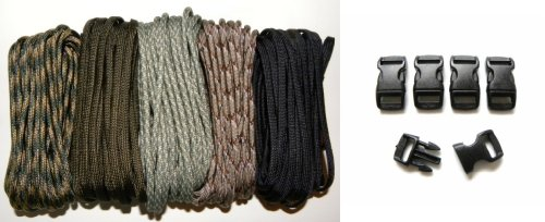 550 Paracord Kit – Five Colors (Olive Drab, ACU, Woodland Camo, Desert Camo, and Black) 50 Feet Total w/5 3/8″ Black Side Release Buckles, Outdoor Stuffs