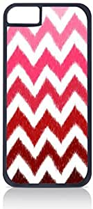 Red Ombre Ikat Chevron- Case for the Apple iphone 6 4.7 Universal-Hard Black Plastic Outer Shell with Inner Soft Black Rubber Lining-(NOT 6 4.7) WANGJING JINDA