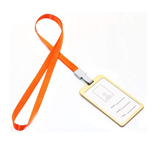 Badge Holder Resistente Jiyoujianzhu Tipo Porta Impermeabile id Orange Id Resealable Collo Cordino Da gold HwTPnxA