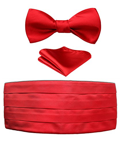 Cummerbund Set Red (Men's Solid Red Satin Cummerbund & Self Bowtie & Pocket Square Set,Pure Red,One Size)