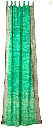 Colorful Window Treatment Draperies Indian Sari panel 108 96 84 inch for bedroom living room dining room kids teens canopy boho curtains with Gift bag SeaFoam Green, 42 W x 108 L