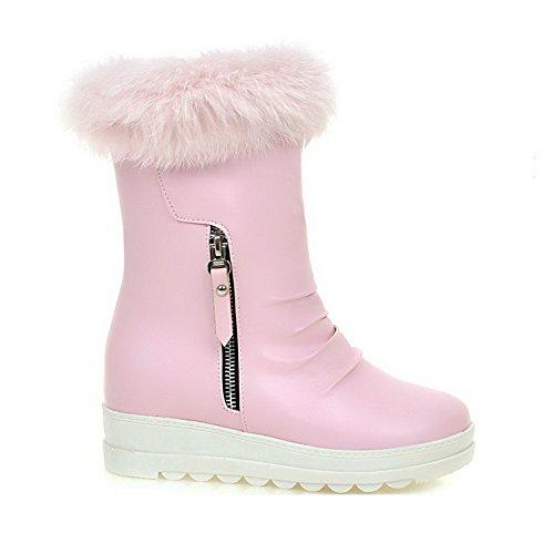 PU Zipper Heels Pink Closed Round Allhqfashion Kitten Toe Boots Solid Women's OP0qfS