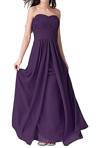 Rueckenfrei Damen aermellos Falte Chiffon Ivydressing lang Brautfernkleid Herzform Grape Sweetheart Abendkleid Partykleid Schnuerung RSqTCB