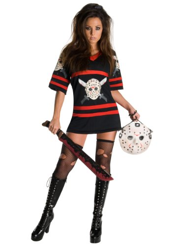 Halloween Jason Costumes (Secret Wishes  Friday The 13Th, Miss Voorhees Mini-Dress And Handbag, Black, Large)