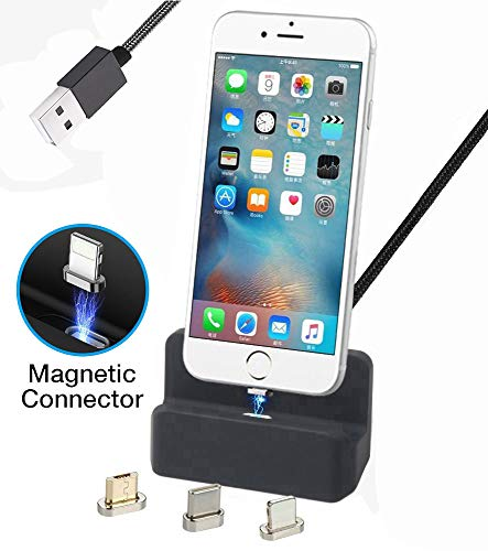 - Auswaur Nylon Braided 3 in 1 Magnetic Phone Charge Dock Desktop Charging Station Docking Cradle Compatible with IP and Micro-USB Android Type C Mobile Devices (1M-Black)