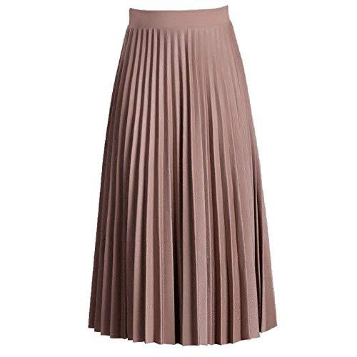 Apricot Mediados Oudan color Uniform Tamaño Larga Code Plisada Falda Cintura Otoño Color Color Acordeón De 2018 Elástica Srq5UPxSw