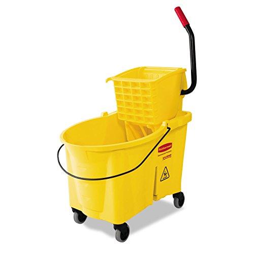 [Rubbermaid Commercial WaveBrake 44-Quart Bucket/Sideward Pressure Wringer Combination, Yellow - one utility bucket combo.] (One Utility Bucket Combo)