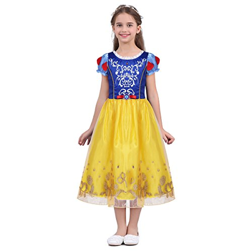 Noblelife Kids Girls Short Puff Sleeves Fairy Tale Princess Costume Cosplay Halloween Party Fancy Dress -