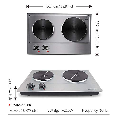Cusimax Hot Plate Electric Burner Double Burner Cast Iron Heating Plate Portable Double Burner Outdoor Electric Stove 1800W with Adjustable Temperature Control Non-Slip Rubber Feet Black Stainless Steel Easy To Clean Upgraded Version by CUSIMAX-cordial (Image #3)