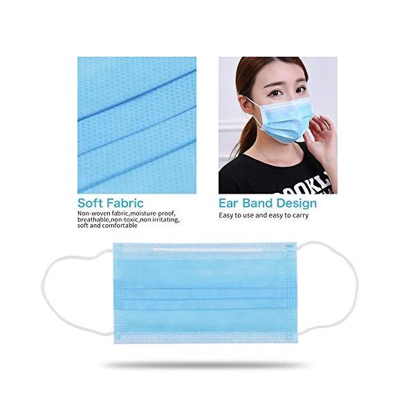 Máscaras desechables, máscara sellada con bucle elástico para los oídos, 3 capas transpirables, cómoda máscara sanitaria para uso al aire libre, oficina en el hogar-10 Pcs 3