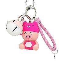 HanYoer Cartoon Cute Pig Doll Animal Key Rings Braided Rope Bells Key Chains, Bag Car Keychain Car Accessories (Pink)