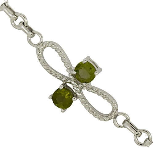Awesome Round Peridot Gemstone 925 Sterling Silver Women Bracelet