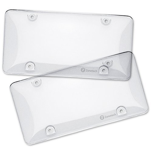 Zone Tech Clear License Plate Shields - 2-Pack Novelty/License Plate Clear Bubble Shields
