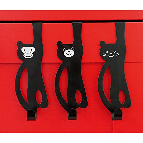 (Over The Door Hook Hanger, Kids Room Hooks, Animal Lover Organizer, Decorative Cat Hangers, Stylish Housewarming Gift(Black) )