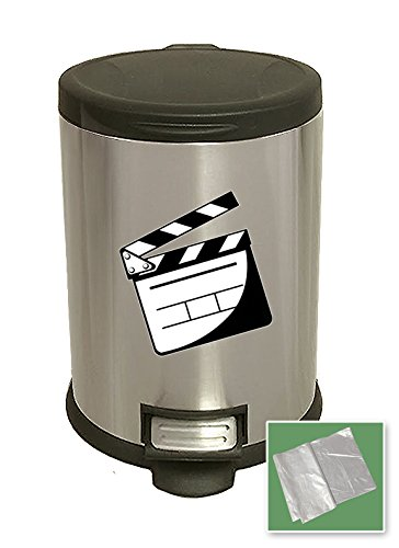 The Furniture Cove New 3.1 Gallon Stainless Steel Step Trash Can Waste Basket Featuring Your Choice of a Novelty Themed Logo! (Movie Clapper)