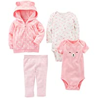 Simple Joys by Carter's Baby Girls' 4-Piece Fleece Jacket, Pant, and Bodysuit Set