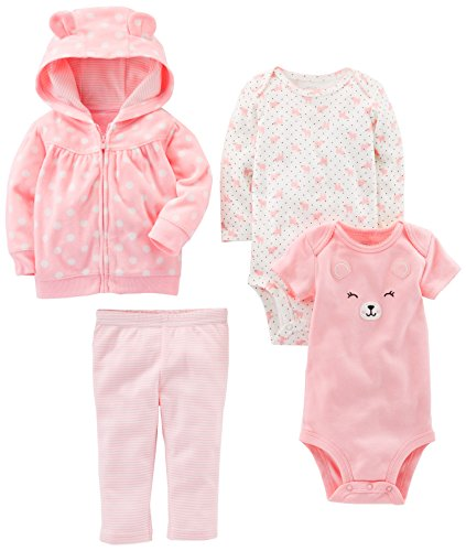 Simple Joys by Carter's Baby Girls 4-Piece Little Jacket Set, Pink Bear, 6-9 Months Jacket Sleepwear
