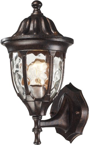 Elk 45000/1 7 by 13-Inch Glendale 1-Light Outdoor Wall Sconce with Water Glass Shade, Regal Bronze Finish