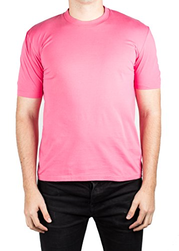 Prada Men's Jersey Cotton Ribbed Crew Neck Logo Patch T-Shirt Pink - Rosa Prada