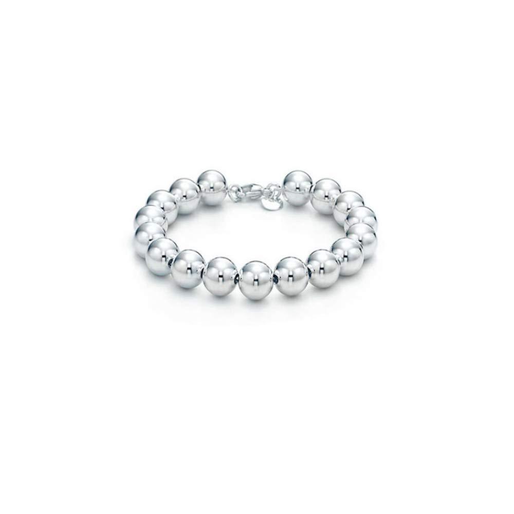 Verona Jewelers Sterling Silver 4MM-10M Italian Bead Ball Chain Bracelet- Handmade Bead Italian Bracelet, Silver Bead Bracelet for Women (7.5, 10MM) by Verona Jewelers