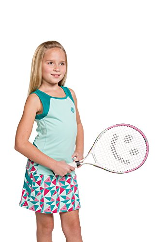 Girls Tennis & Golf Tank and Skirt Set with Built in Shorts - Beach Glass Size/Aqua Size S (Golf Clothes For Girls)
