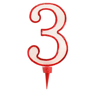 NUMBERED BIRTHDAY CANDLE FOR NUMBER 3 THREE GIANT RED Amazoncouk Electronics